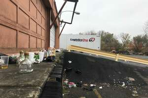 The aftermath from a massive party held in the parking lot of a warehouse at 21 Simmons Lane, Menands as seen Oct. 21, 2019. The clandestine party targeted UAlbany students celebrating on homecoming weekend. About 1,000 people attended on Oct. 19, 2019. The lot's owner said he was unaware of the party, and wants the organizers charged with trespassing.