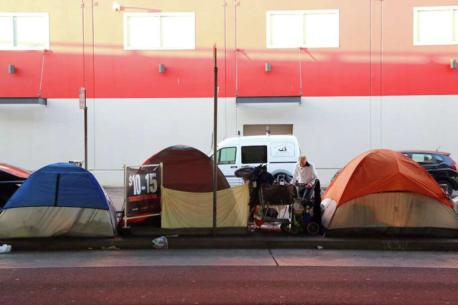 A homeless encampment in San Francisco. Homelessness is an expanding crisis that many California residents say has tested the tolerance and liberal values for which the state is better known. Photo: Jim Wilson/The New York Times