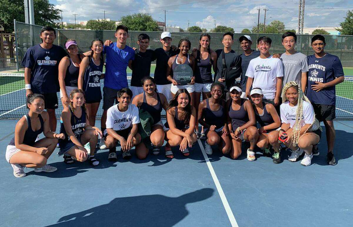 District 20-6A champion Clements defeated Katy Taylor and Stratford by 10-1 scores to return to the Region III-6A tennis quarterfinals.