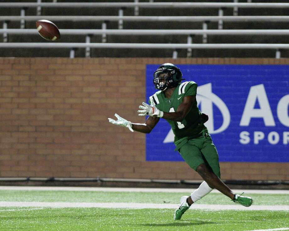 Donte Jones (1) of Mayde Creek makes a touchdown reception during the fourth quarter of a 6A Region III District 19 football game between the Taylor Mustangs and Mayde Creek Rams on Friday, October 18, 2019 at Rhodes Stadium, Katy, TX. Photo: Craig Moseley, Houston Chronicle / Staff Photographer / ©2019 Houston Chronicle