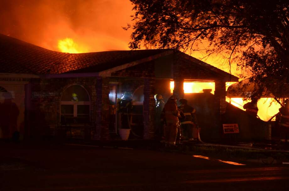 Two families are displaced after a large structure fire in Olton on Friday. Photo: Olton Enterprise/Courtesy Photo