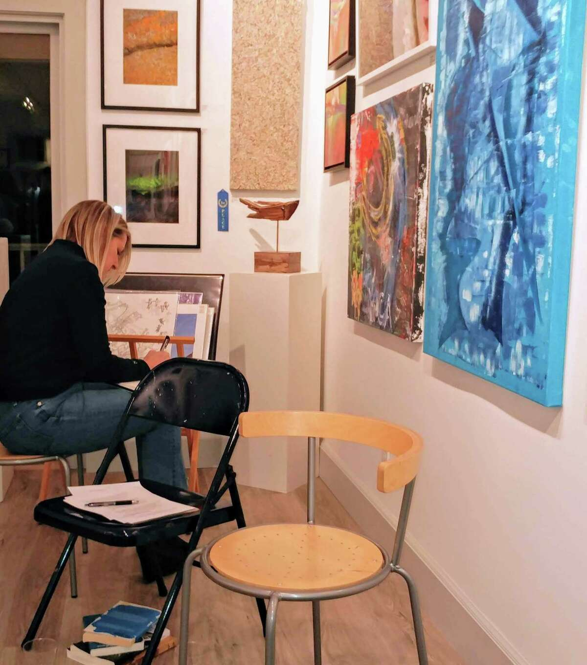 """Rowayton Arts Center will host a free creative writing workshop on October 28. The public is invited to take part in an Ekphrastic Poetry Experience, which is poetry written about works of art. In this case, the current RAC exhibition, """"Autumn Juried Show,"""" will provide the inspiration."""
