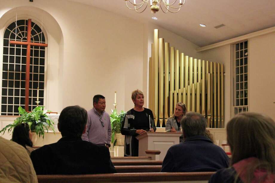 State Sen. Tony Hwang and Reps. Laura Devlin and Brenda Kupchick discussed their legislative efforts to assist the fight against Newport Academy at a neighborhood meeting at St. Timothy's Church on Oct. 17. Photo: Rachel Scharf / Hearst Connecticut Media