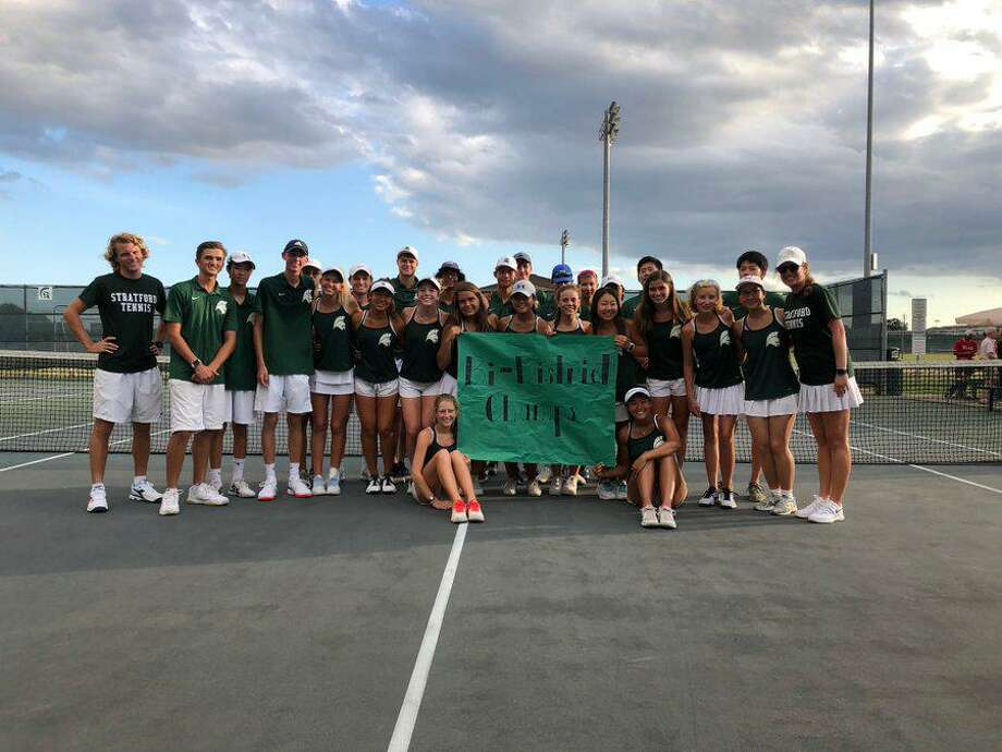 The Stratford tennis team was the District 17-6A runner-up and won its second consecutive bi-district championship, defeating Bellaire 10-5 to open the playoffs. Photo: Stratford High School / Stratford High School