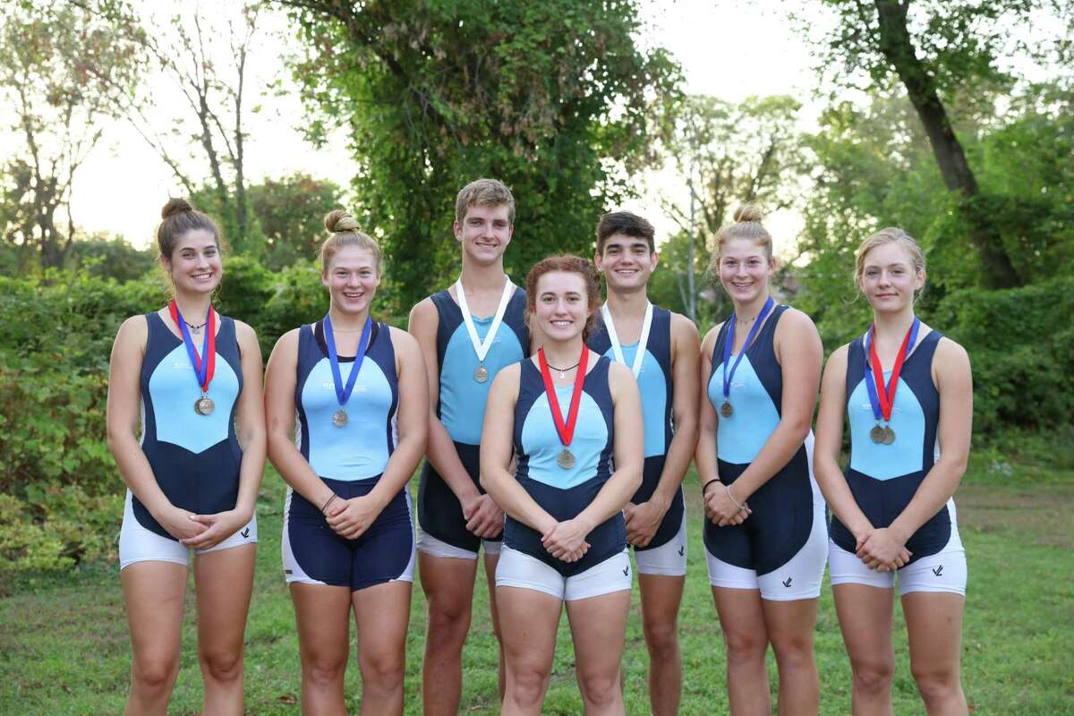 Competing for the New Milford-based GMS Rowing Center, several Ridgefielders won medals the Tail of the Fish Regatta in Saratoga Springs, N.Y. Left to right: Jillian Skor, Sarah Rapaglia, Xander van den Nieuwenhuizen, Sage Siegel, Gavin Wainright, Katie Rapaglia, and Claire Poremba. Poremba also earned a medal at the Green Mountain Head Regatta in Putney, VT.