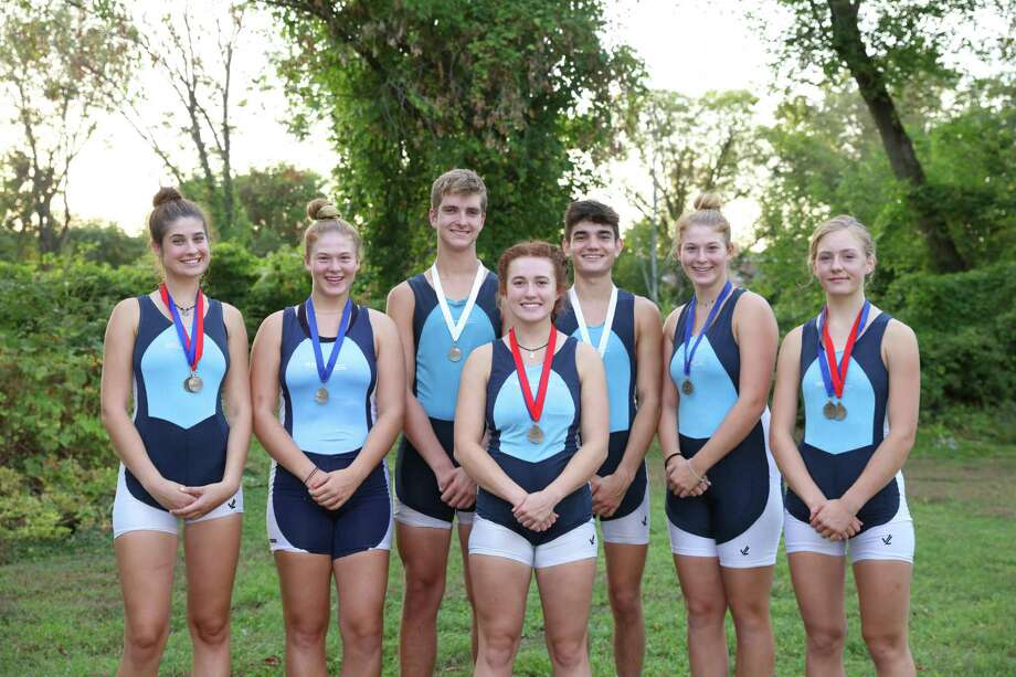 Competing for the New Milford-based GMS Rowing Center, several Ridgefielders won medals the Tail of the Fish Regatta in Saratoga Springs, N.Y. Left to right: Jillian Skor, Sarah Rapaglia, Xander van den Nieuwenhuizen, Sage Siegel, Gavin Wainright, Katie Rapaglia, and Claire Poremba. Poremba also earned a medal at the Green Mountain Head Regatta in Putney, VT. Photo: Visko Hatfield / Contributed Photo / Visko Hatfield