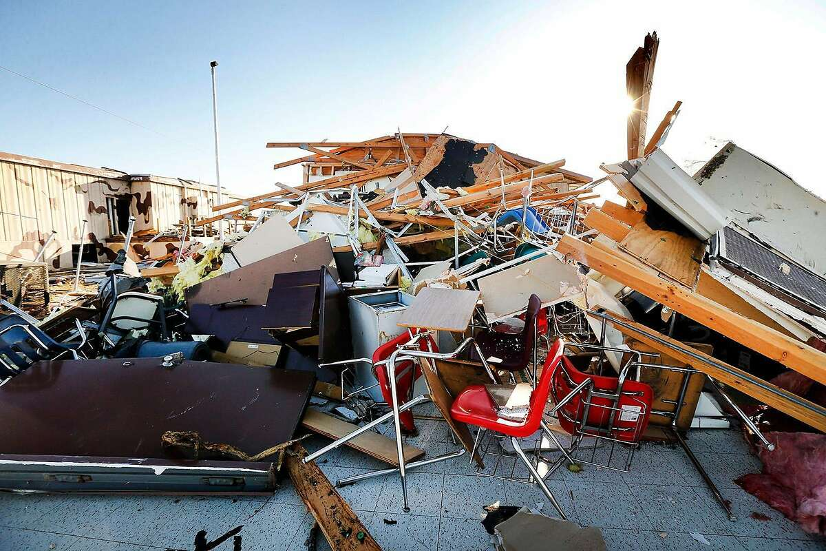 A portable building with classrooms at Cary Jr. High School in Dallas, Texas was totally destroyed by a tornado, Monday, October 21, 2019. (Tom Fox/Dallas Morning News/TNS)