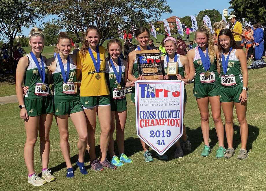 The Woodlands Christian Academy girls cross country team won the TAPPS 4A championship on Monday in Waco. Photo: TWCA / Photo Submitted