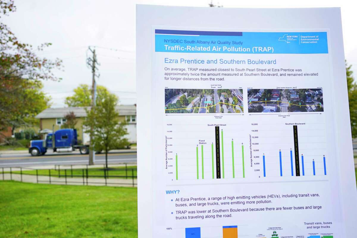 A tractor trailer is seen on South Pearl Street traveling past the Ezra Prentiss Homes on Monday, Oct. 21, 2019, in Albany, N.Y. The DEC held the press event at the home on Monday to announce the results of an air quality study in and around the Ezra Prentiss Homes. The study showed that traffic-related air pollution is a problem in the area. (Paul Buckowski/Times Union)