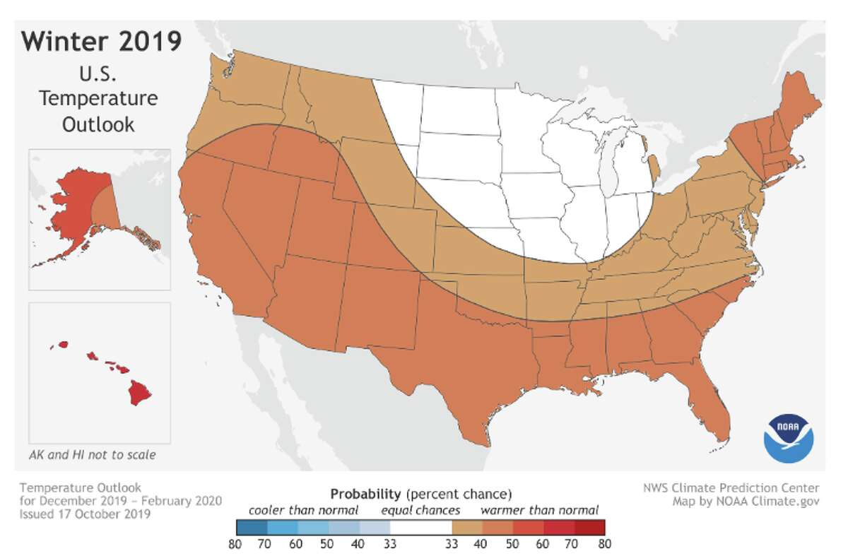 This 2019-20 Winter Outlook map for temperature shows warmer-than-average temperatures are likely for much of the U.S. this winter.