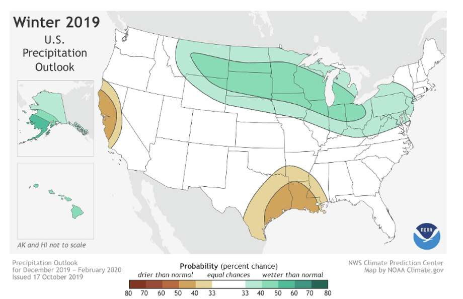 This 2019-20 Winter Outlook map for precipitation shows wetter-than-average weather is most likely across the Northern Tier of the U.S. this coming winter. Photo: NOAA