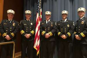 The Shelton Fire Department honored its own Oct. 16 at the awards and promotion ceremony at Shelton Intermediate School. Pictured are, left to right, Assistant Fire Chief Shaun Wheeler, Fire Chief Francis T. Jones III, Deputy Fire Chief Paul Wilson, Assistant Fire Chief Nicholas Verdicchio, and Assistant Fire Chief Michael Plavcan.