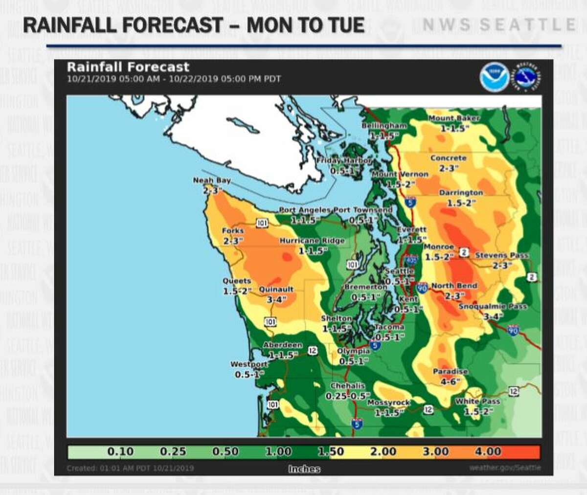 Seattle was expected to get about an inch of rain over the next two days. Some mountain areas could see up to 4 inches.