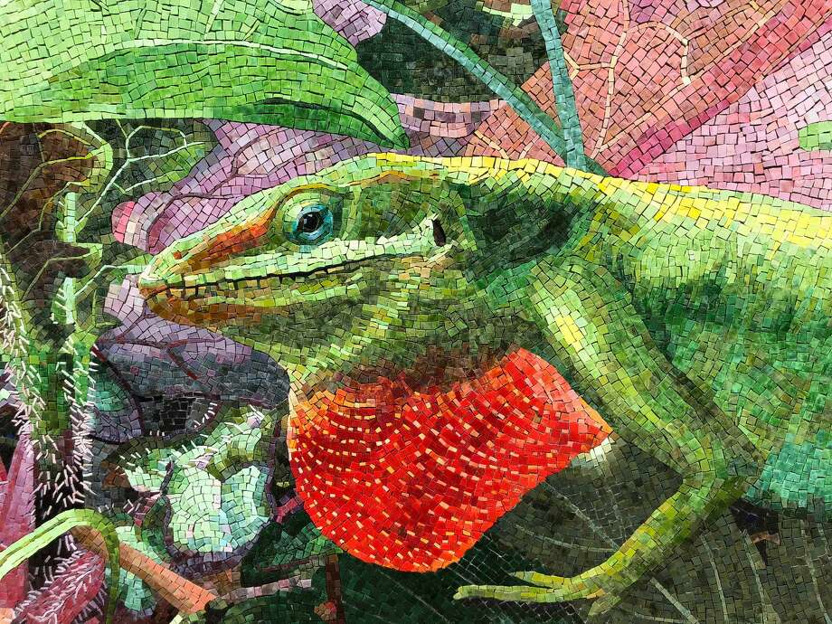 A detail of Dixie Friend's new Midtown Park mosaic wall shows a native anole. Photo: Courtesy Of The Artist / Courtesy Of The Artist