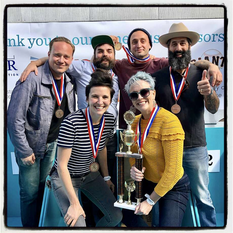 Team Good Livers, which triumphed at the Penny Pitch, are: back row, from left: Morgan Schick, Matthew Robert Melle, Alfie Spears and Josh Harris; front row: Caitie Connolly (left) and Rebecca Pinnell. Oct. 18, 2019. Photo: Catherine Bigelow / Special To The Chronicle