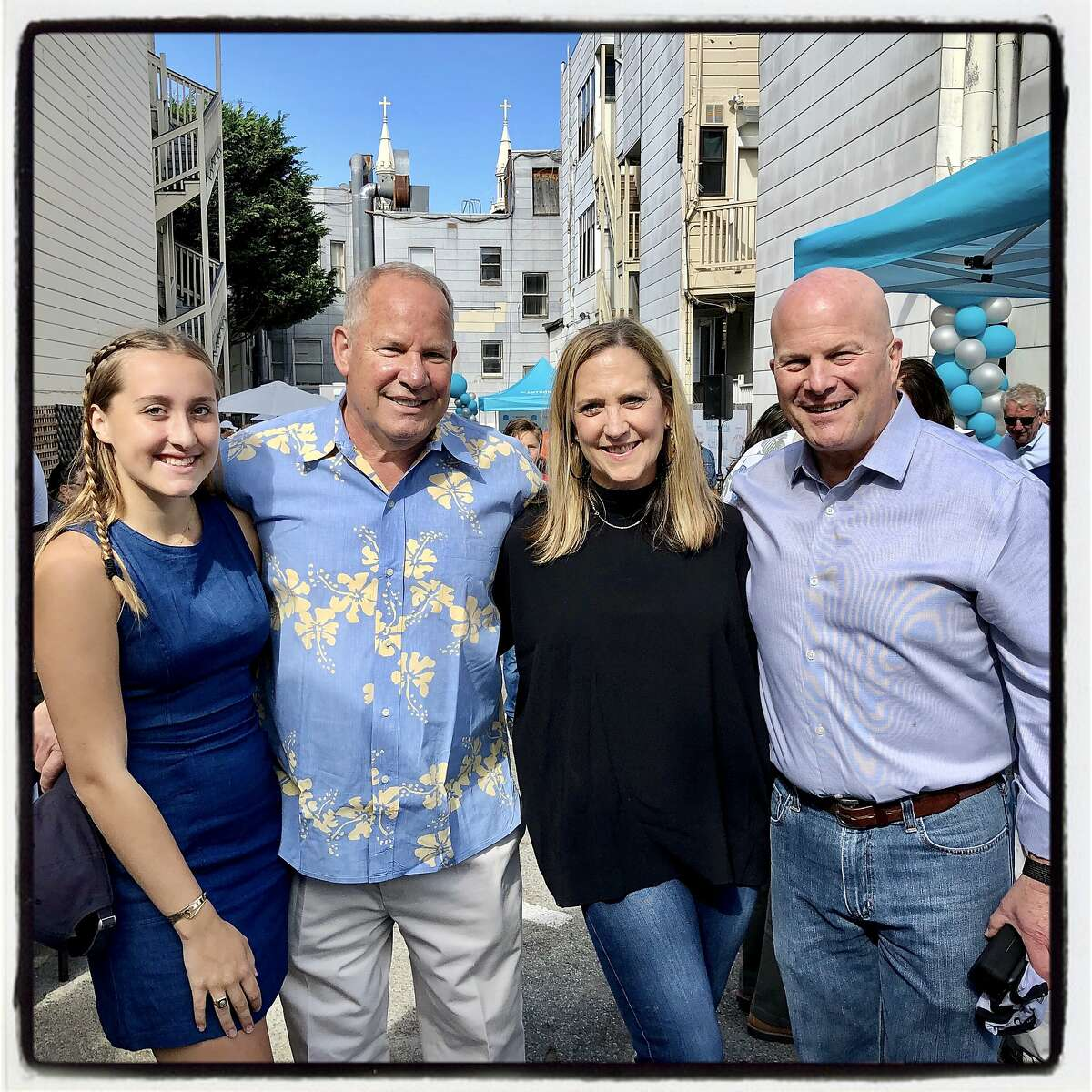 Jacqueline Carlson (left) with her parental Penny Pitch co-chairs Dale Carlson and Meagan Levitan and committee member Greg Suhr. Oct. 18, 2019.