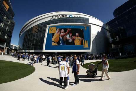 n exterior view of the Chase Center before the Golden State Warriors game against the Los Angeles Lakers on October 05, 2019 in San Francisco, California.