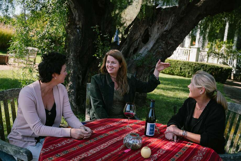 (Left to right) Blue Farm estate director, Jessica Case, Amy Bess Cook, owner of Woman-Owned Wineries, and Vineyard owner Anne Moller-Racke, sit for a photo at Blue Farm Vineyards in Sonoma, Calif. on Monday, Oct. 14, 2019. Photo: Sarahbeth Maney / Special To The Chronicle