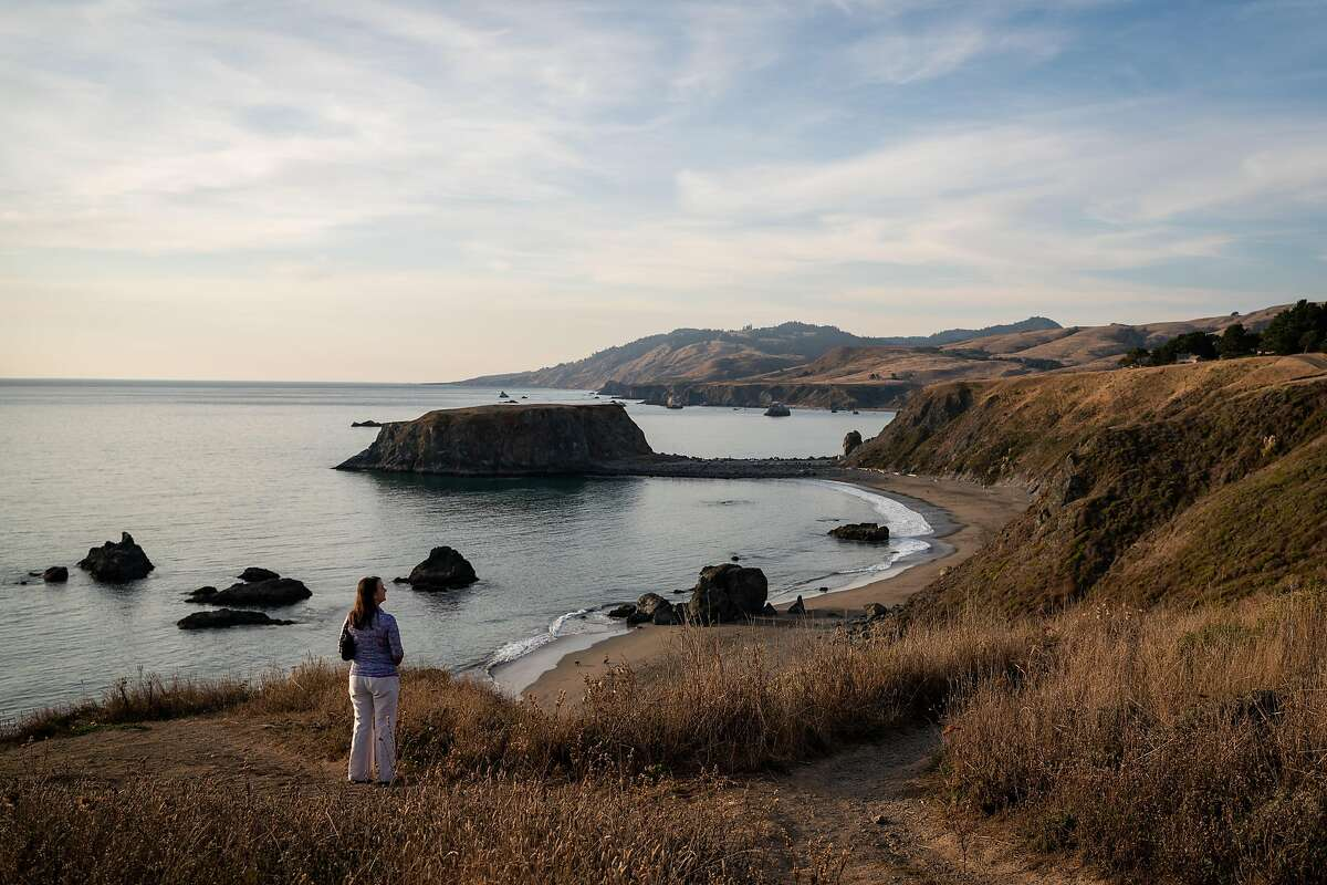 Nanette Ray of Navado, stands to look at a view of Goat Rock Beach in Sonoma County, Calif. on Saturday, Oct. 12, 2019.