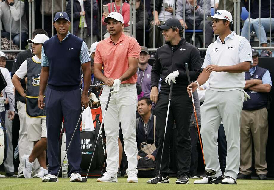 Tiger Woods of the United States, Jason Day of Australia, Rory McIlroy of Northern Ireland, and Hideki Matsuyama of Japan, from left to right, wait for the start of the Challenge: Japan Skins event ahead of the Zozo Championship PGA Tour at Accordia Golf Narashino C.C. in Inzai, east of Tokyo, Monday, Oct. 21, 2019. (AP Photo/Lee Jin-man) Photo: Lee Jin-man, Associated Press