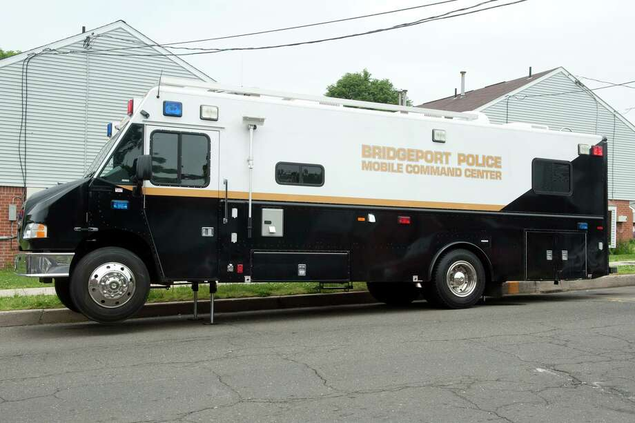 "The Bridgeport Police Department's Mobile Command Center on station at the Trumbull Gardens housing complex in Bridgeport, Conn. May 31, 2018. Mayor Ganim and Police Chief Armando ""A.J."" Perez say they are continuing efforts to increase the police department's presence within city communities like Trumbull Gardens. Photo: Ned Gerard / Hearst Connecticut Media / Connecticut Post"