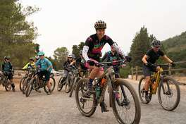 Meg Skidmore, front, leads a group of female cyclists from Bell Joy Ride at Annadel State Park in Santa Rosa, Calif. on Saturday, Oct. 19, 2019.