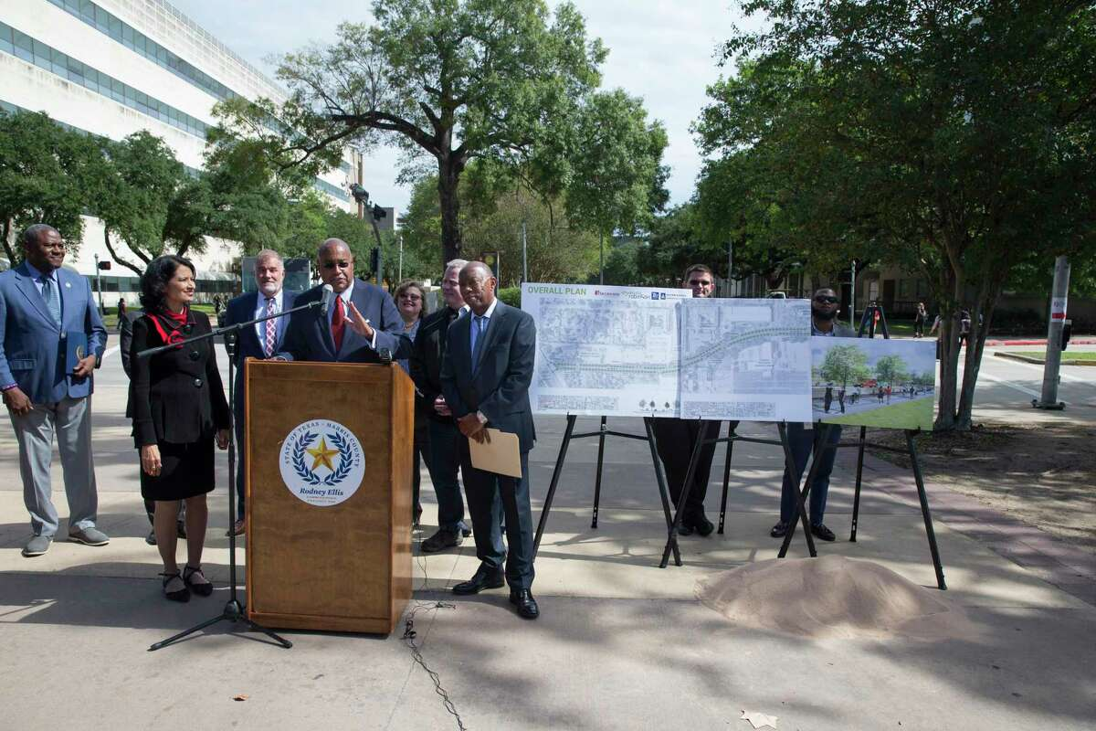 University of Houston System Chancellor Renu Khator, left, is joined by Harris County Precinct One Commissioner Rodney Ellis, left, and Houston Mayor Sylvester Turner to perform a ground breaking ceremony on Cullen Boulevard on Monday, Oct. 21, 2019, in Houston. The Cullen Boulevard Construction Project is a joint project between the city, county and the university. The project will improve safety, mobility and drainage along the university corridor around UH and Texas Southern University.