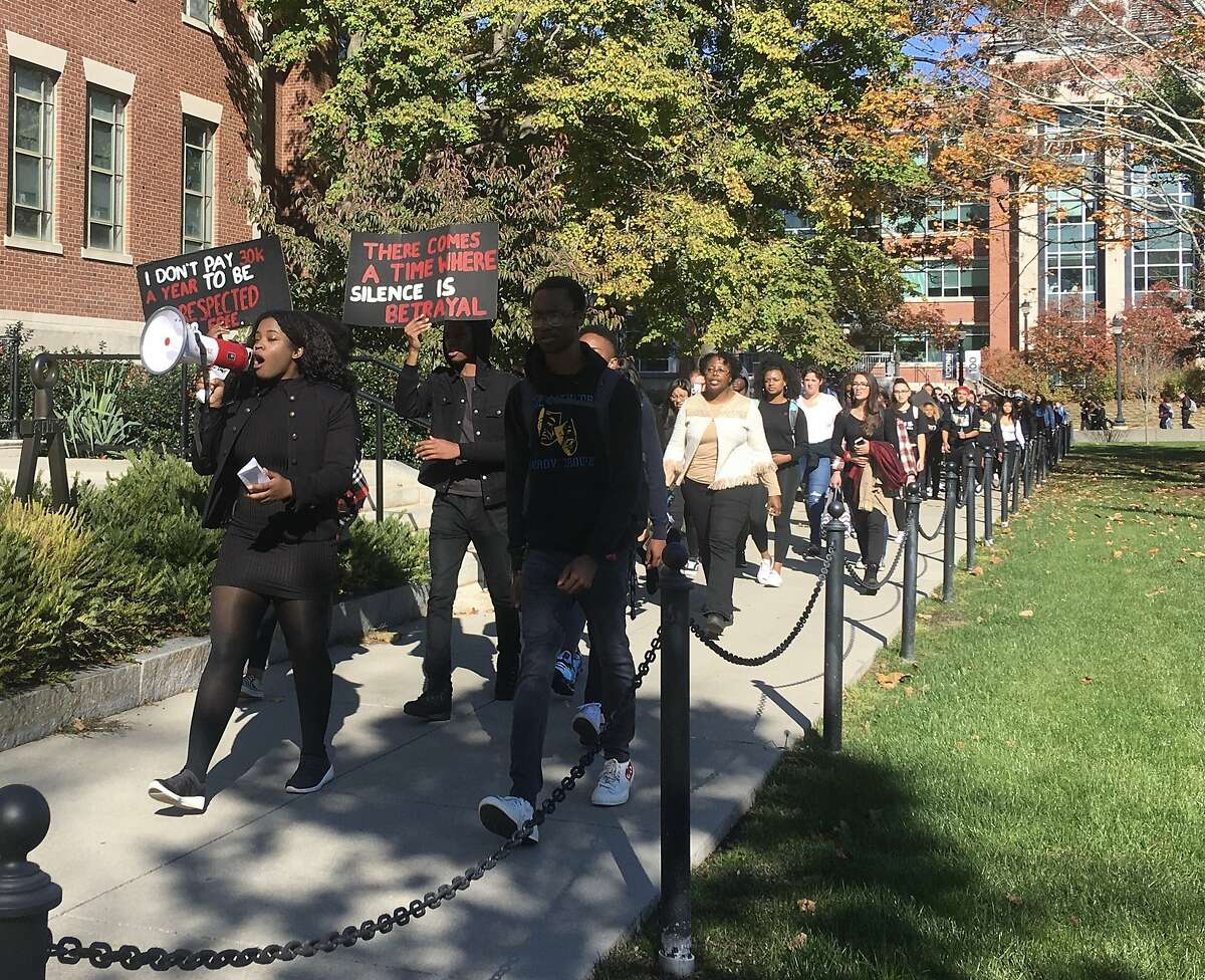 Students at the University of Connecticut held a march on Monday, Oct. 21 after recent racist incidents on campus.