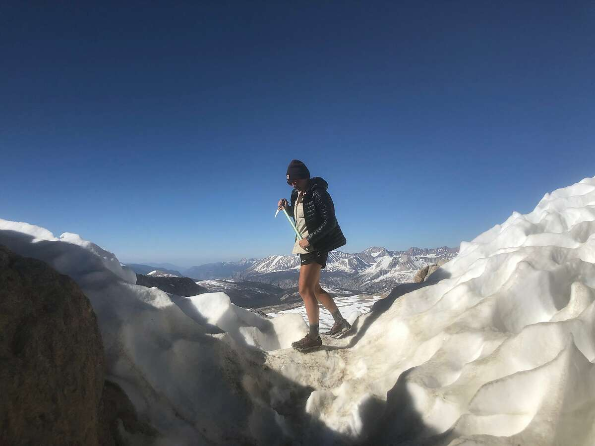 Thru-hiker Elise Ott at Forrester Pass on the Pacific Crest Trail in 2019.