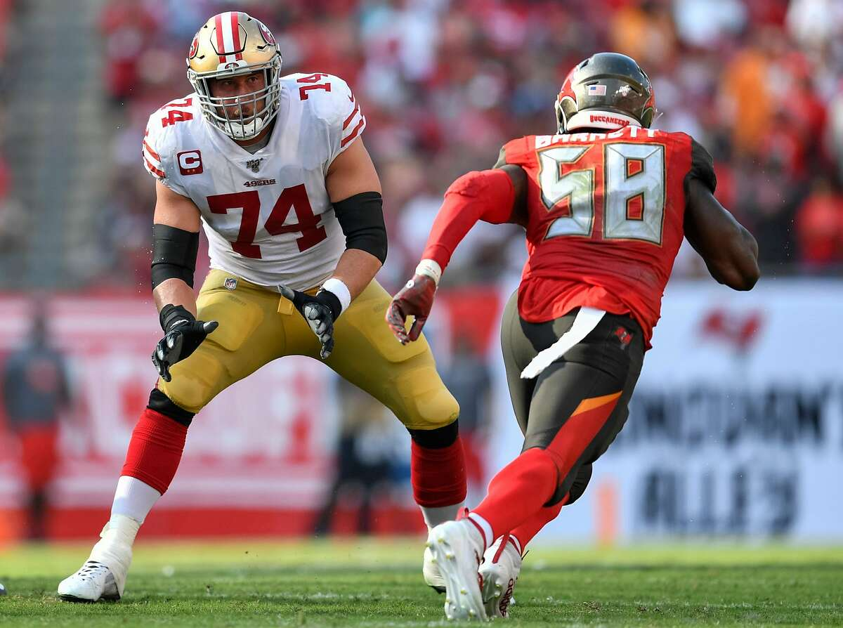 TAMPA, FL - SEPTEMBER 08: San Francisco 49ers Offensive Tackle Joe Staley (74) in pass protection during the first half of the season opener between the San Francisco 49ers and the Tampa Bay Bucs on September 08, 2019, at Raymond James Stadium in Tampa, FL. (Photo by Roy K. Miller/Icon Sportswire via Getty Images)
