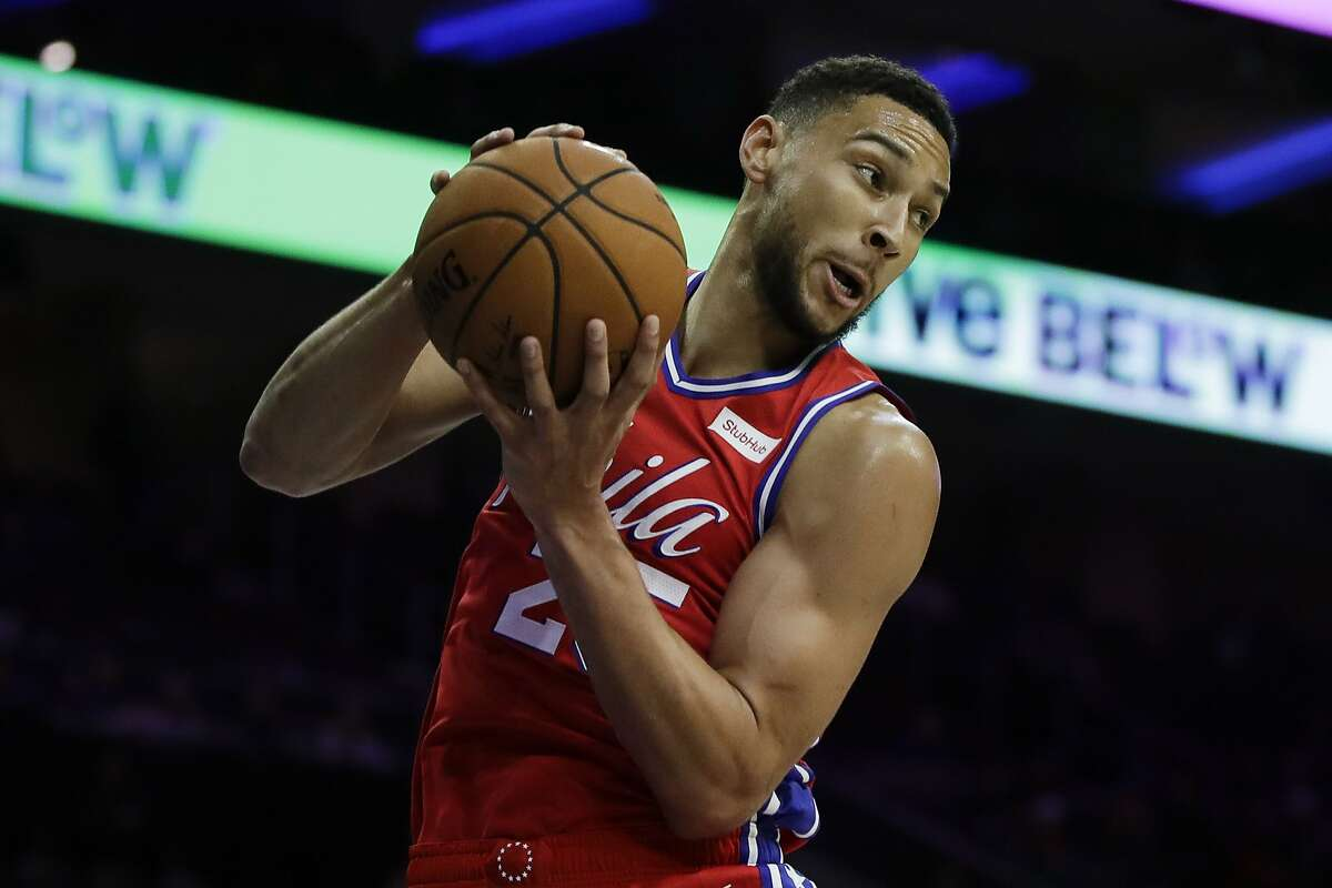 Philadelphia 76ers' Ben Simmons in action during an NBA preseason basketball game against the Guangzhou Loong-Lions Tuesday, Oct. 8, 2019, in Philadelphia. (AP Photo/Matt Rourke)