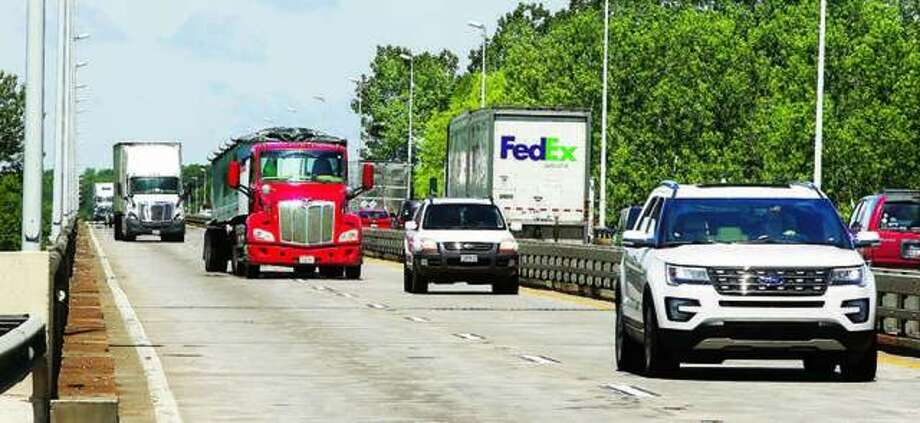 In this 2016 photo, traffic passes over the narrow, shoulder-less, Interstate 270 River Bridge in Mitchell. Photo: John Badman | Telegraph File Photo