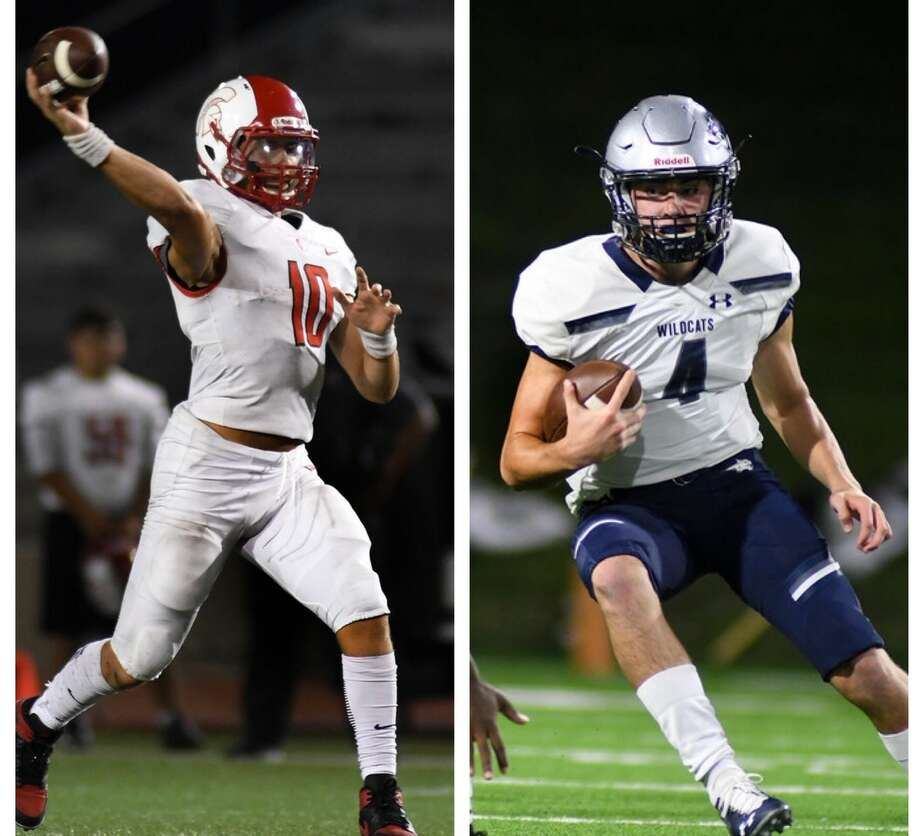 Co-athletes of the week: Cy Lakes quarterback Sofian Massoud and Tomball Memorial quarterback Colton Marwill. The two quarterbacks totaled 18 touchdons between them in Tomball Memorial's 73-70 win Saturday. Photo: Jerry Baker