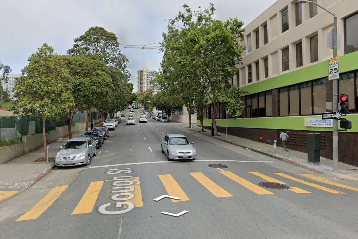 At this intersection, Golden Gate Ave and Gough St, video shows a man grabbing a sign from climate change protestors.