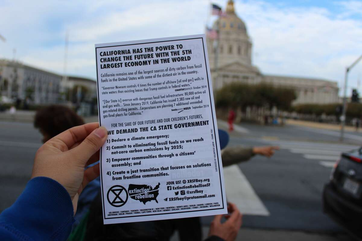 A pamphlet for environmental activist group Extinction Rebellion SF Bay Area.