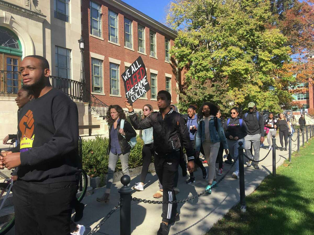 Students at the University of Connecticut organized a march on campus on Monday, Oct. 21 to call on the university to address racism on campus.