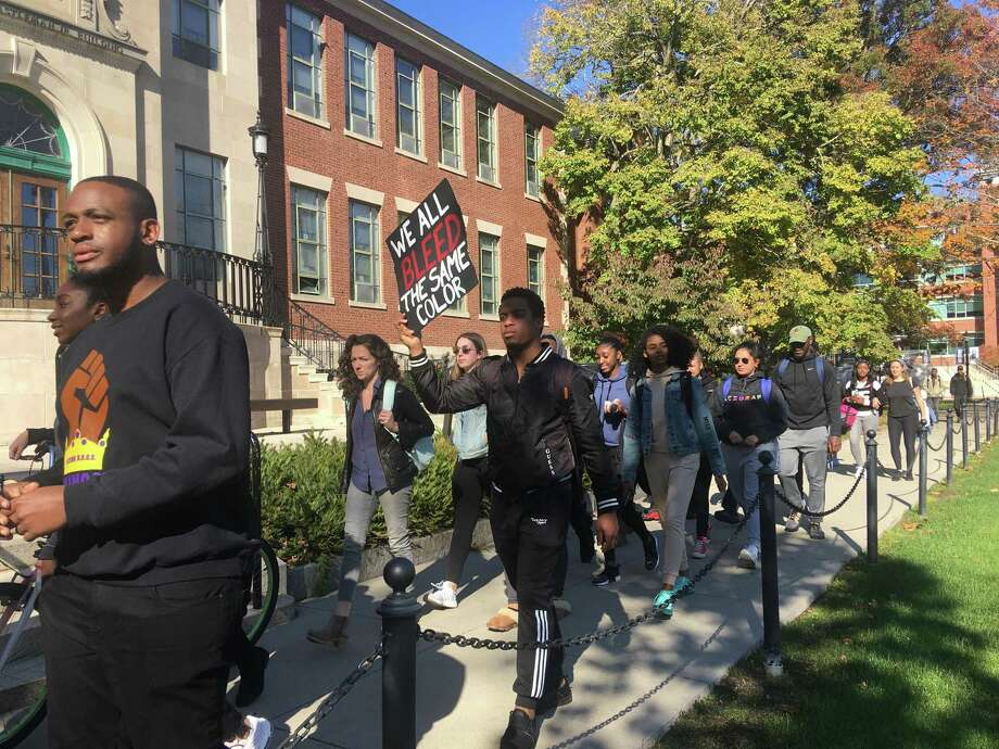 Students at the University of Connecticut organized a march on campus on Monday, Oct. 21 to call on the university to address racism on campus. Photo: Liz Teitz