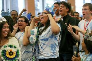 JECA seniors react as UIW announced they were offering the entire senior class at JECA scholarships during a homecoming pep rally on Friday. The combined scholarships total $1.574 million per year.