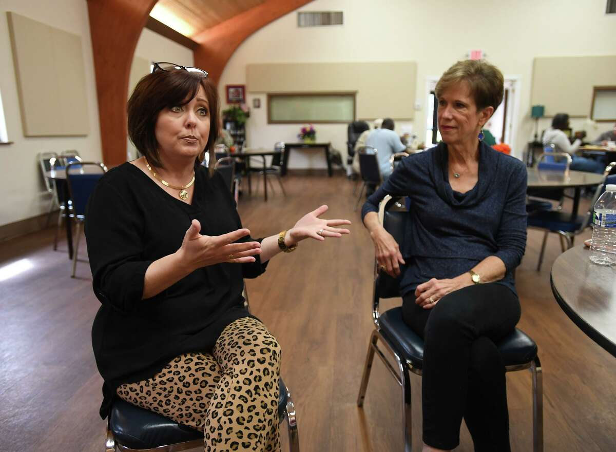 Janice Kimball, left, and Elaine Shellenberger at Beaumont's Nutrition and Services for Seniors on Monday. Shellenberger is retiring as director of the program and Kimball will succeed her. Photo taken Monday, 10/21/19
