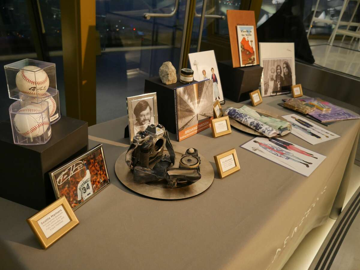 A display of some of the items to be placed inside the time capsule. Most items will be kept secret until the capsule is opened in 2062.