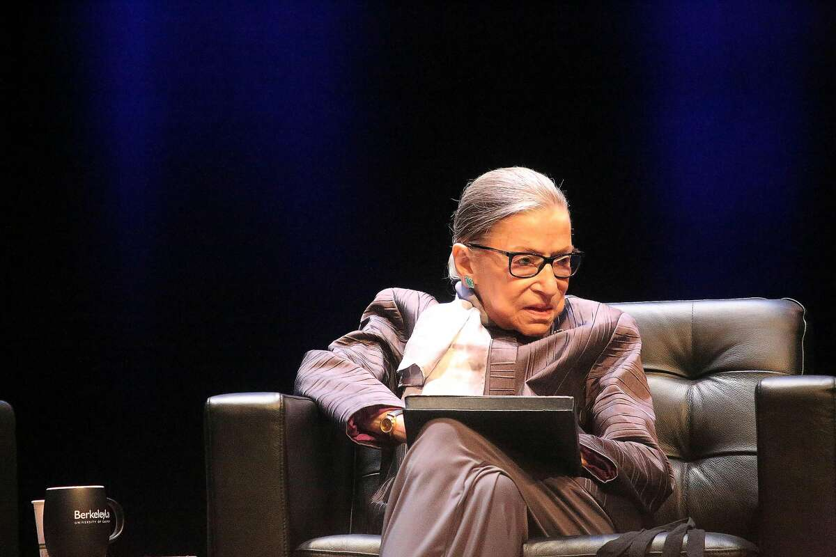 Associate Justice of the Supreme Court of the United States Ruth Bader Ginsburg sits on stage before speaking at the inaugural Herma Hill Kay Memorial Lecture at Zellerbach Hall on Monday, October 21, 2019 in Berkeley, Calif.