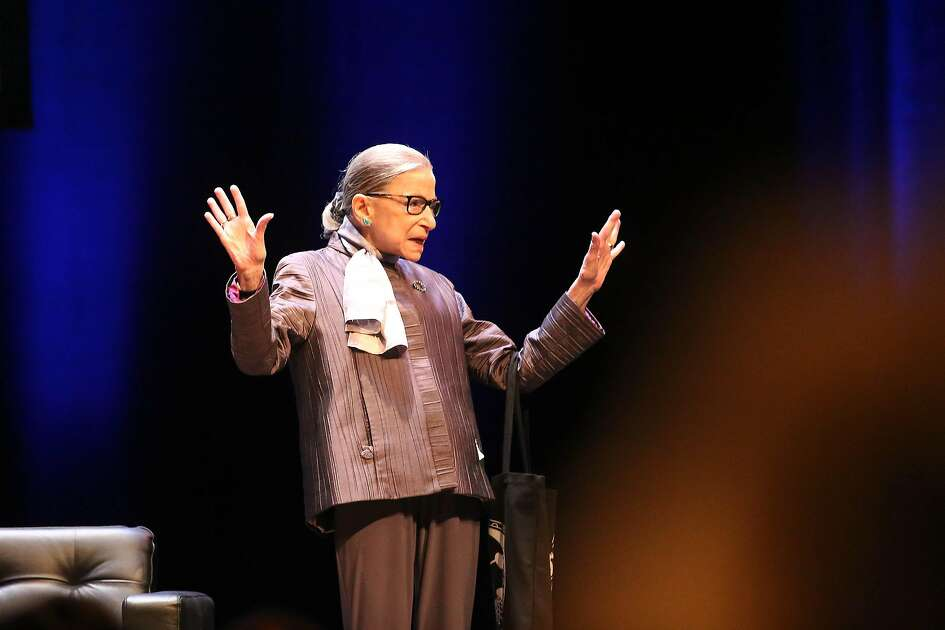 Associate Justice of the Supreme Court of the United States Ruth Bader Ginsburg waves from the stage before speaking at the inaugural Herma Hill Kay Memorial Lecture at UC Berkeley's Zellerbach Hall on Monday, October 21, 2019 in Berkeley, Calif.