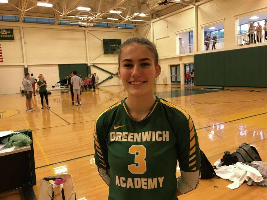 Senior tri-captain Valeska Lasky helped lead the Greenwich Academy volleyball team to a 3-0 win vs. Greens Farms Academy on Monday, October 21, 2019, in Greenwich. Photo: David Fierro /Hearst Connecticut Media