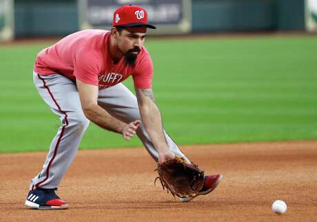 Washington Nationals third baseman Anthony Rendon fields a grounder during a workout in preparation for Game 1 of the World Series against the Houston Astros at Minute Maid Park on Monday, Oct. 21, 2019, in Houston.