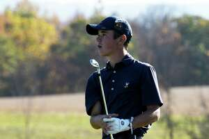 Nick Lyons of Albany Academy tees off at the 14th during the Section II state golf qualifier final round on Monday, Oct. 21, 2019, at Orchard Creek Golf Course in Guilderland N.Y.  (Will Waldron/Times Union)