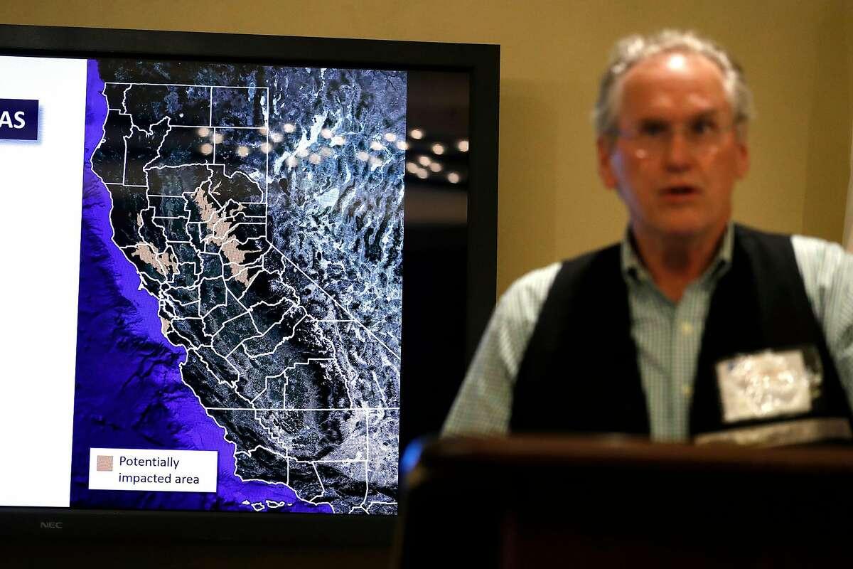 Bill Johnson, head of PG&E Corp., warned of 2019 shut-offs becaue of a high wind event.