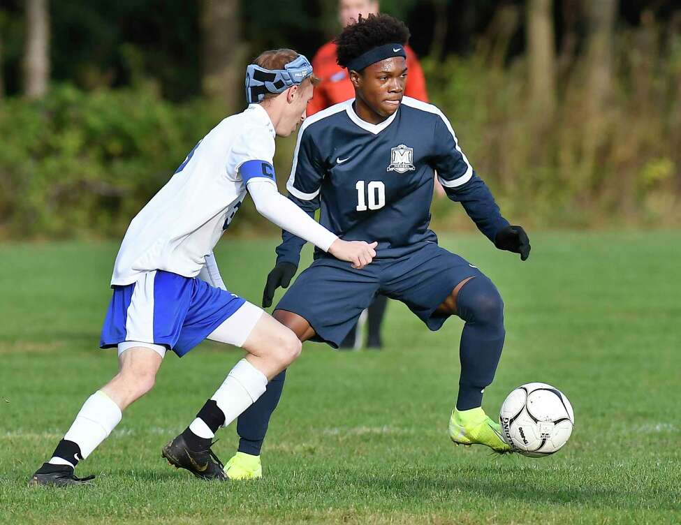 Northville's Levi Morgan (3) defends against Mekeel Christian Academy's Lens Lima (10) during a boys' high school soccer game in Schenectady, N.Y., Wednesday, Oct. 9, 2019. (Hans Pennink / Special to the Times Union)