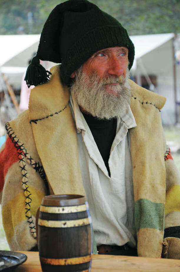 Reenactor Randy Gustafson, of Bunker Hill, at the Grafton Rendezvous, represents an authentic look of a participant in a Rendezvous of 1840. Photo: David Blanchette|For The Telegraph