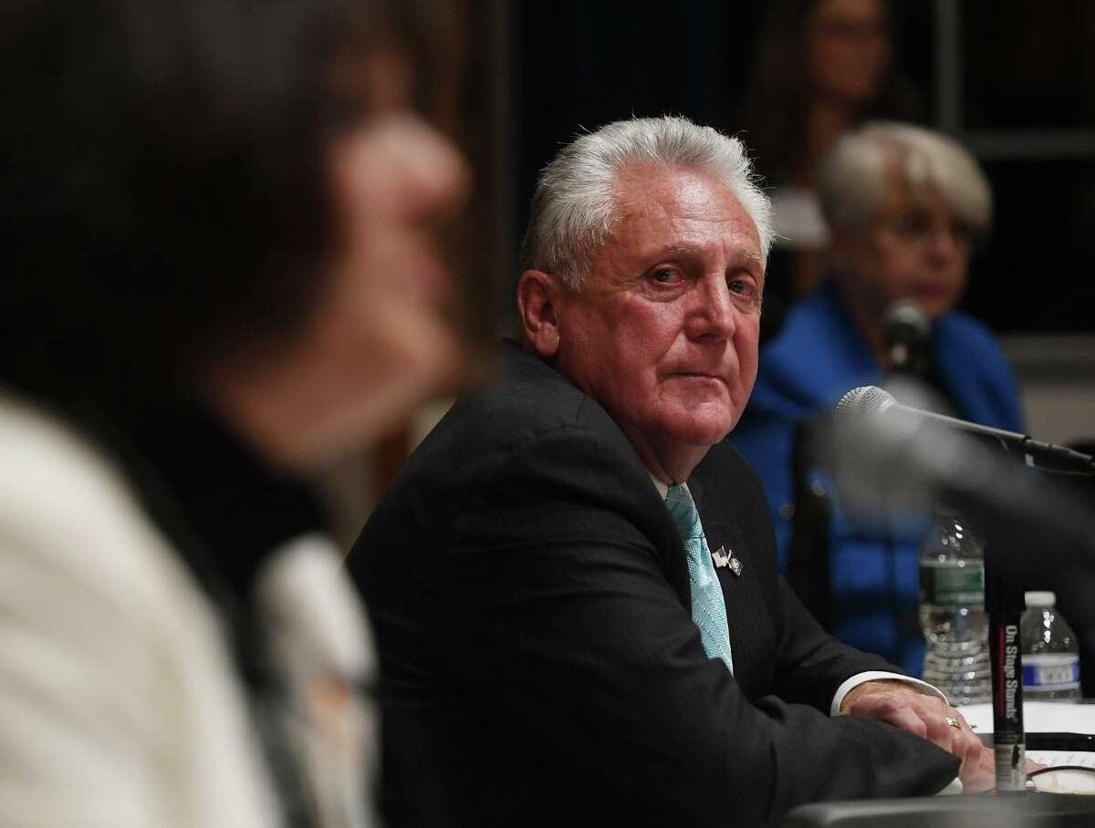 Norwalk Mayor Harry Rilling looks over at challenger Lisa Brinton during their mayoral debate at Norwalk City Hall in Norwalk, Conn. on Monday, October 21, 2019.