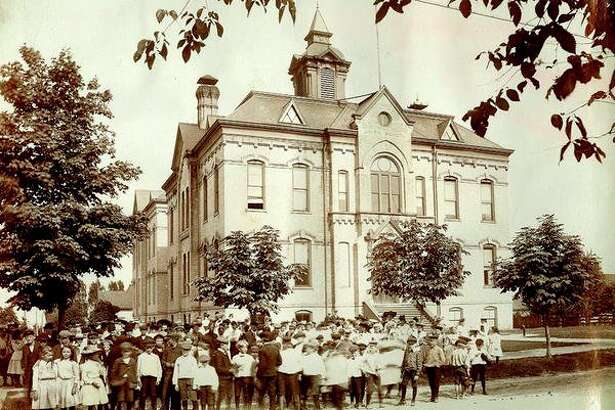 This photograph from 1904 shows students standing out in front of the Union School building.